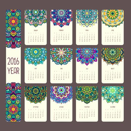 asian business people: Calendar 2016 with mandalas. Vintage style, vector decorative illustration. Calendar in indian and arabic style.