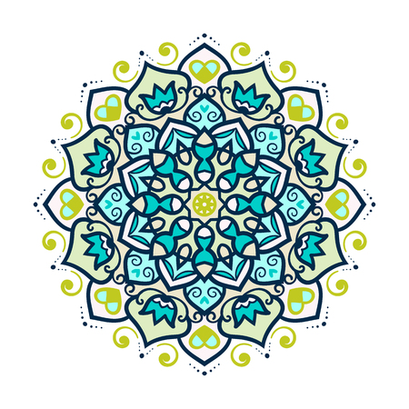 circles pattern: Vector mandala ornament. Round floral pattern. Hand drawn decorative element.