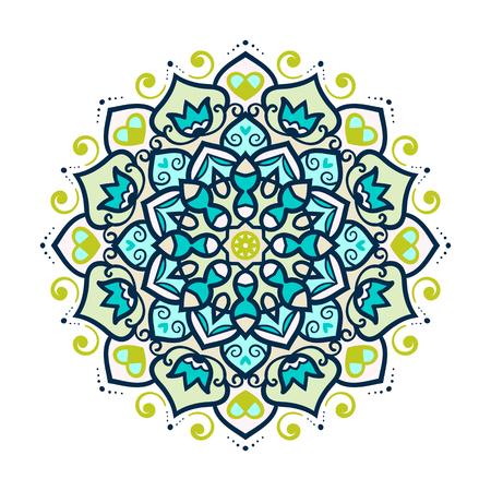 indianische muster: Vektor-Mandala-Verzierung. Runder Blumenmuster. Hand gezeichnet dekorative Element. Illustration
