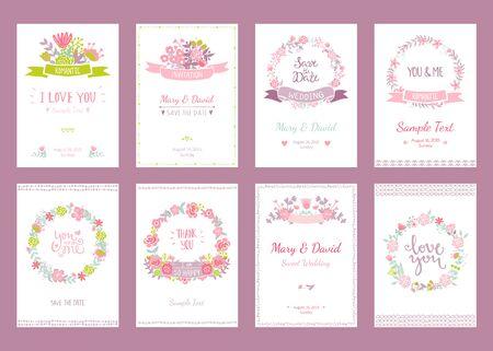Romantico carte d'epoca di raccolta. Mano tratte vettore set illustrazione floreale. Stile di nozze. Archivio Fotografico - 45931201