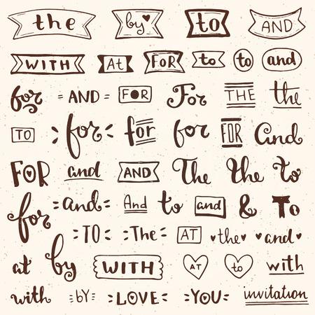 catchword: Hand lettered ampersands and catchwords for logo and label designs. Vintage Style elements. Vector illustration.