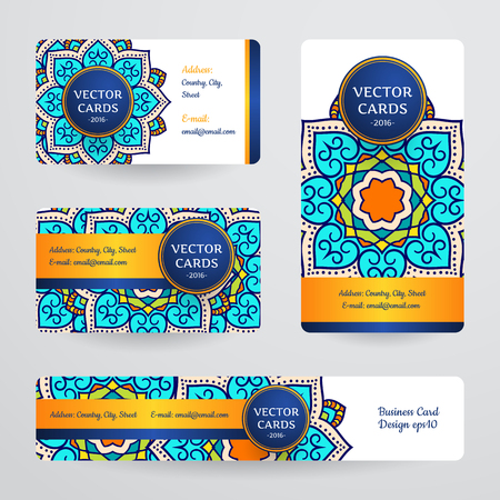 Business cards with mandala. Vector template, tribal theme. Vintage business card collection. 向量圖像