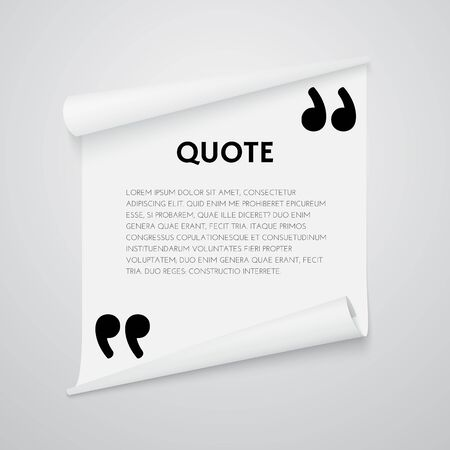 Quote text bubble. Quote template with commas. Note and message vector illustration. Design element for quote.