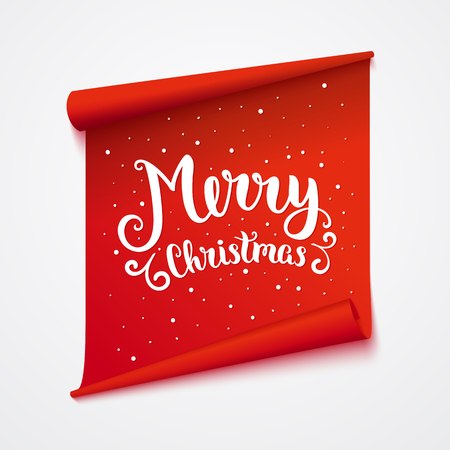 merry: Merry christmas card. Isolated sticker with lettering. Vector art illustration.