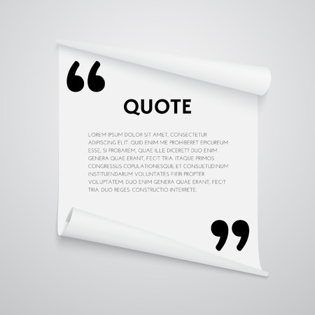 textbox: Quote text bubble. Quote template with commas. Note and message vector illustration. Design element for quote.