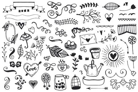 빈티지 스케치 요소의 집합입니다. 벡터 장식 컬렉션입니다. 손으로 그린 꽃과 잎 및 페이지 장식.