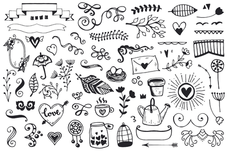 Set of vintage sketch elements. Vector decoration collection. Hand drawn flowers and leaves, and page decor.