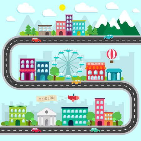 road design: City infographics design elements set. Collection in flat style with buildings, road and transport. Vector illustration.
