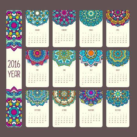 calendario: Calendario 2016 con mandalas. Estilo vintage, vector ilustraci�n decorativa. Calendario de estilo indio y �rabe.
