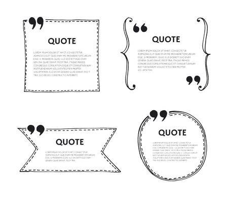 Quote text bubble. Quote template with commas. Design hand drawn vector element for quote. Stock Illustratie