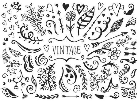Set of vintage sketch elements. Vector decoration collection. Hand drawn flowers and leaves, arrows and page decor.