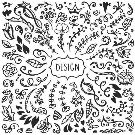 Conjunto de elementos del bosquejo de la vendimia. Decoración Colección del vector. Dibujado a mano las flores, las hojas y decoración de página.