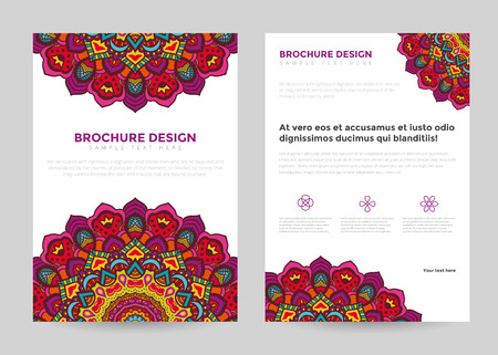 poster print: Business brochure design template in A4 size. Brochure with mandala, tribal style.