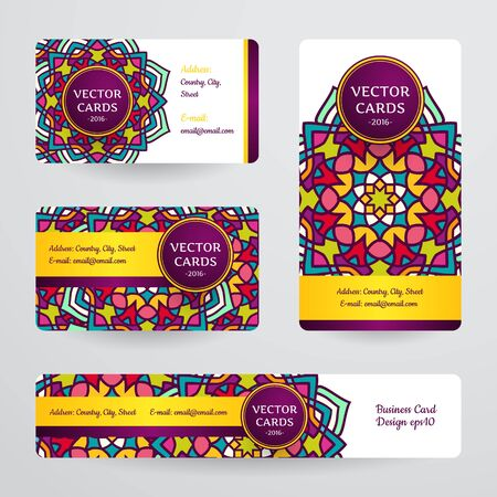 creation of sites: Business cards with mandala. Vector template, tribal theme. Vintage business card collection. Illustration