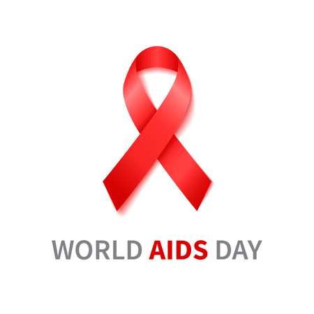 aids virus: World Aids Day illustration with red ribbon of aids awareness. Vector red ribbon.