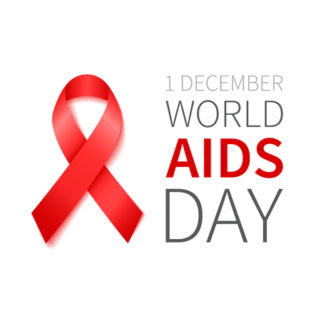 sexual intercourse: World Aids Day illustration with red ribbon of aids awareness. Vector red ribbon.