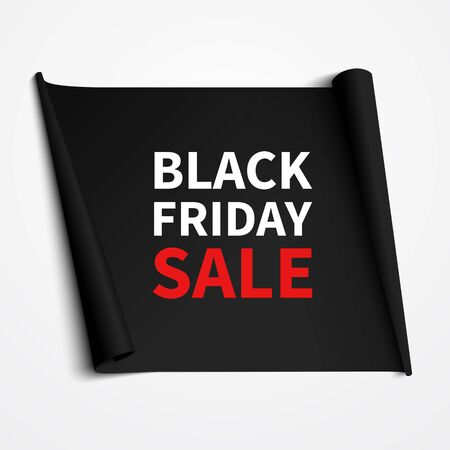 wallpaper design: Black Friday Sale banner design. Vector isolated black ribbon with text. Vector illustration.