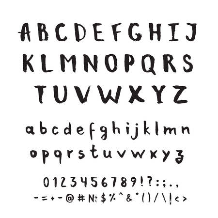 english letters: Hand drawn vector alphabet. Decorative isolated letters set.