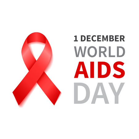 sick people: World Aids Day illustration with red ribbon of aids awareness. Vector red ribbon.