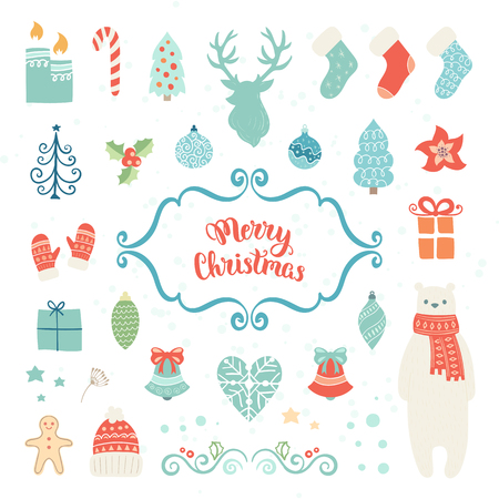 christmas element: Christmas decoration collection. Vector illustration, isolated decorative elements. Merry Christmas lettering. Illustration