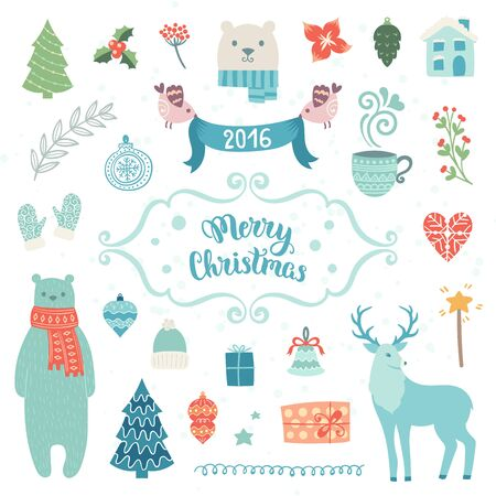 christmas hats: Christmas decoration collection. Vector illustration, isolated decorative elements. Merry Christmas lettering. Illustration