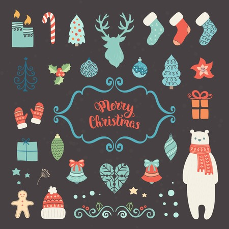 motivos navide�os: Christmas decoration collection. Vector illustration, isolated decorative elements. Merry Christmas lettering. Vectores