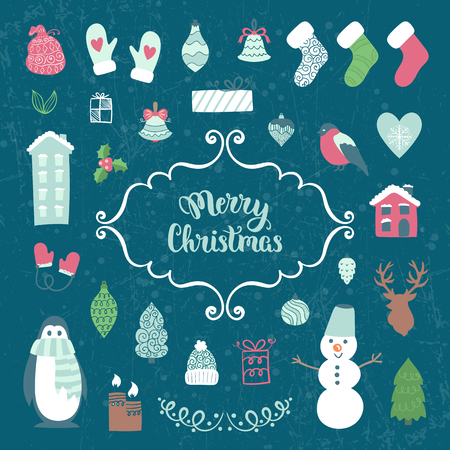 finch: Christmas decoration collection. Vector illustration, isolated decorative elements. Merry Christmas lettering. Illustration
