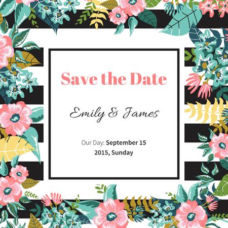ramo de flores: Guarde la plantilla de dise�o de la fecha. invitaci�n de la boda de la vendimia, ilustraci�n vectorial florales.