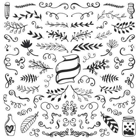 Set of vintage sketch elements. Vector decoration collection. Hand drawn flowers, leaves and page decor. Ilustração