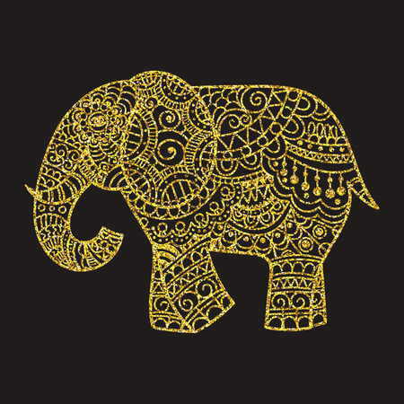 Dekorative Elefant Illustration. Indian Thema mit Ornamenten. Vector isolierte Darstellung.