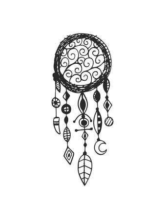 feathery: Tribal vector dream catcher with feathers. Hand drawn indian illustration. Vintage poster. Illustration