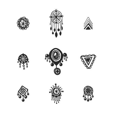 Tribal collecte des éléments vectoriels. Hand drawn illustration indien avec des capteurs de rêves et de plumes. Banque d'images - 50586703