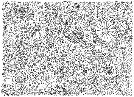 doodle art: Floral doodle pattern with flowers and leaves. Vector sketch illustration, hand drawn style.