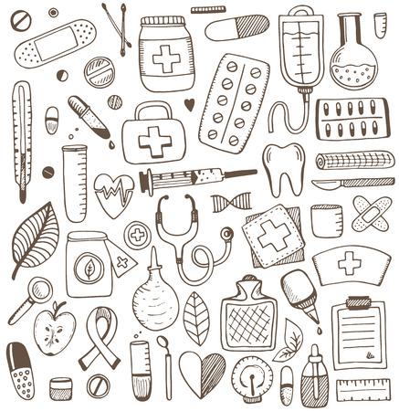 cuidado de la salud y los elementos de medicina conjunto. Ilustración del vector del bosquejo. patrón de la medicina.