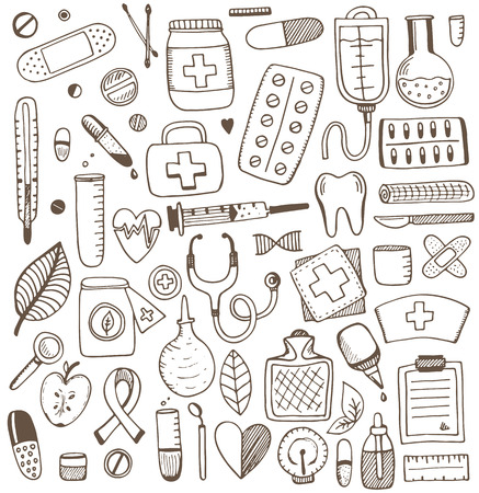 Health care and medicine elements set. Vector sketch illustration. Medicine pattern.