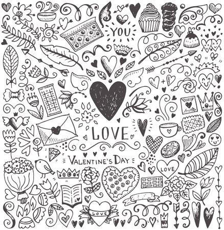 San Valentín de día boceto. elementos del vector románticas. Ilustración con corazones y flores. Foto de archivo - 50576997
