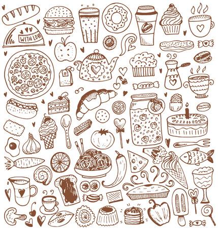 Alimentation éléments d'esquisse collection. Vector illustration dans le style vintage. Vecteurs
