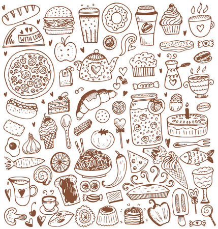 Food sketch elements collection. Vector illustration in vintage style.
