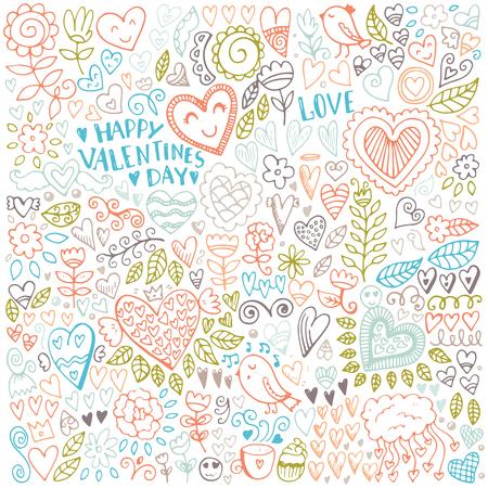 バレンタインの日スケッチ パターン。ロマンチックなベクトルの要素。心と花のイラスト。