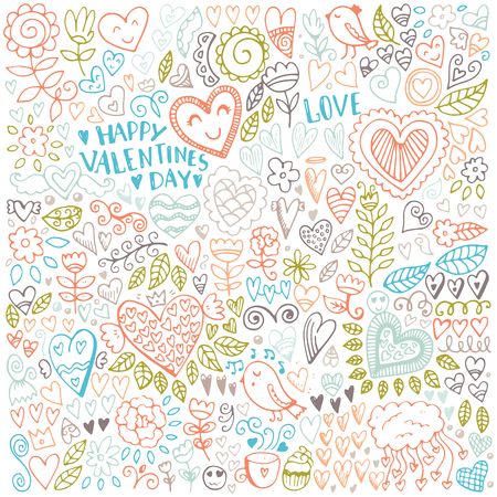 Valentines day sketch pattern. Romantic vector elements. Illustration with hearts and flowers. Çizim