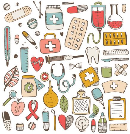 건강 관리 및 의학 요소 집합입니다. 벡터 스케치 그림입니다. 의학 패턴. 일러스트