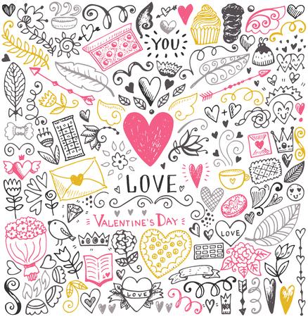 발렌타인 데이 스케치 패턴입니다. 로맨틱 벡터 요소. 하트와 꽃 그림입니다.