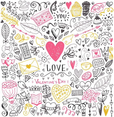 Valentines day sketch pattern. Romantic vector elements. Illustration with hearts and flowers. Ilustração