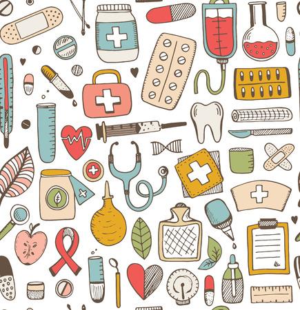 bottle of medicine: Seamless health care and medicine sketch pattern. Vector sketch illustration. Medicine background. Illustration