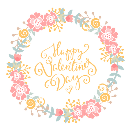 romantic couple: Happy Valentines Day card. Romantic vector background with flowers and leaves. Romantic illustration. Illustration