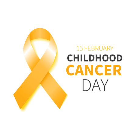 Childhood Cancer Day. Childhood Cancer Awareness yellow ribbon. Vector illustration. Poster with gold ribbon. Çizim