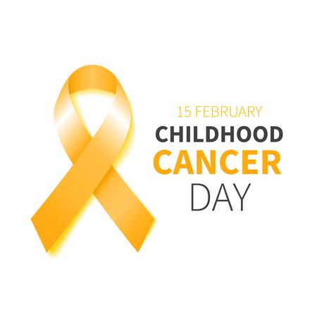 infancia: Día Cáncer Infantil. Conciencia del cáncer de la cinta amarilla. Ilustración del vector. Cartel con la cinta del oro. Vectores