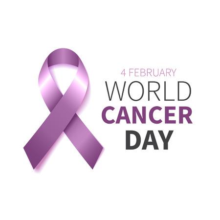 World Cancer Day. World Cancer Awareness Lavendelband. Vektor-Illustration. Vektorgrafik