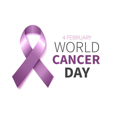 World Cancer Day. World Cancer Awareness  lavender ribbon. Vector illustration.