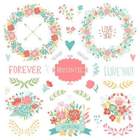 Nozze elementi d'epoca di raccolta. Romantica mano disegnata insieme floreale con cornici, fiori, foglie e nastri. elementi vettoriali romantici per carta. Matrimonio e il tema romantico.